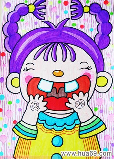 儿童彩笔画作品; 大牙女孩│幼儿彩笔画作品; 大牙女孩_儿童彩笔画