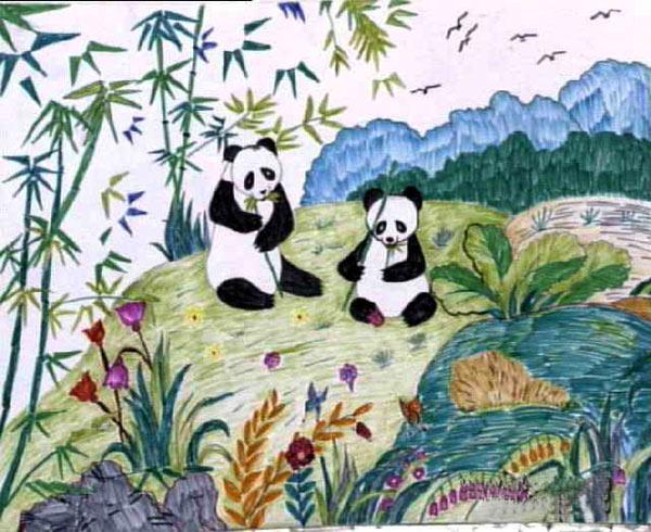 两只熊猫 儿童彩笔画作品