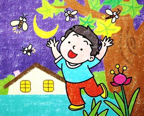 美好的夜晚 儿童蜡笔画作品