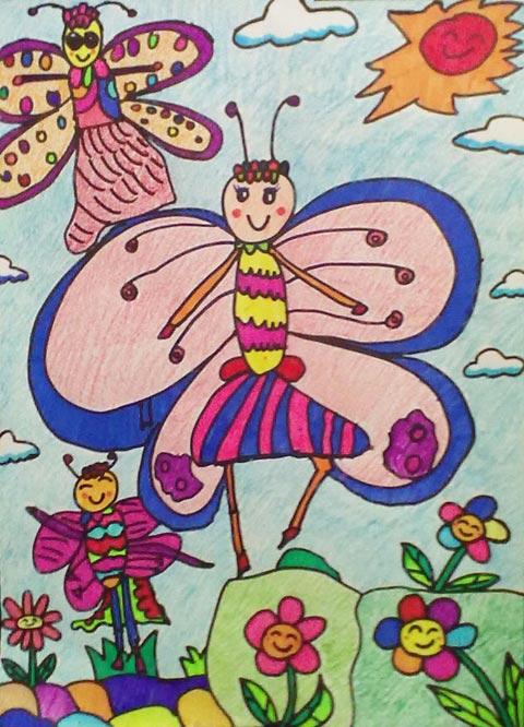 蝴蝶 儿童蜡笔画作品