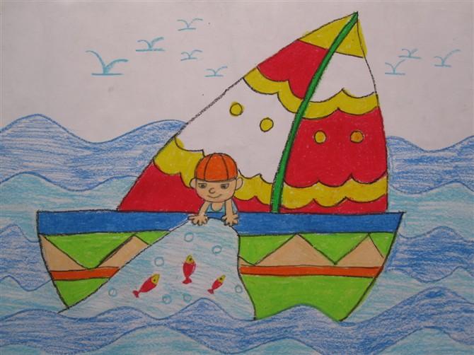 小孩捕鱼 儿童彩笔画作品
