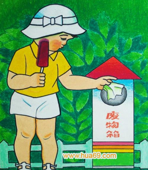 爱护环境 儿童蜡笔画作品