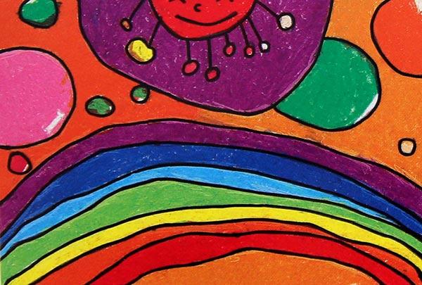 彩虹天堂 儿童蜡笔画作品