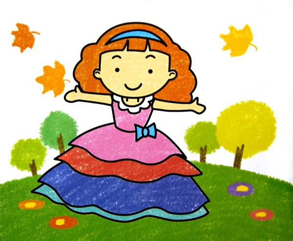 穿长裙小女孩_儿童彩笔画作品