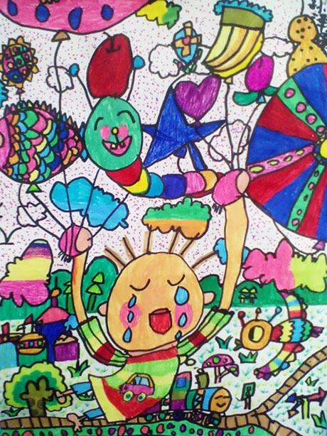 城市 儿童蜡笔画作品