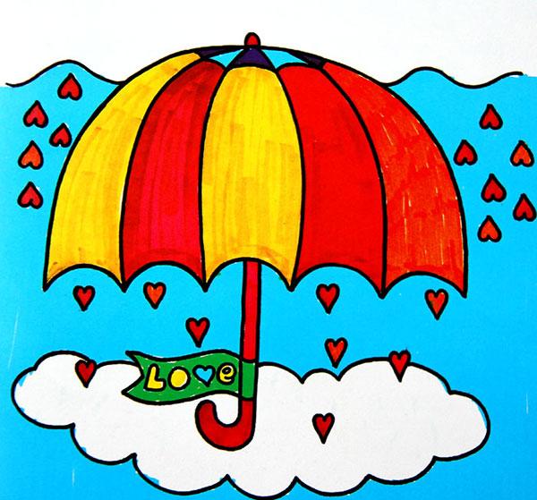 彩色小雨伞_儿童彩笔画作品