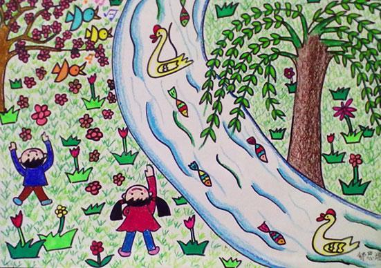 春天的路上 儿童蜡笔画作品