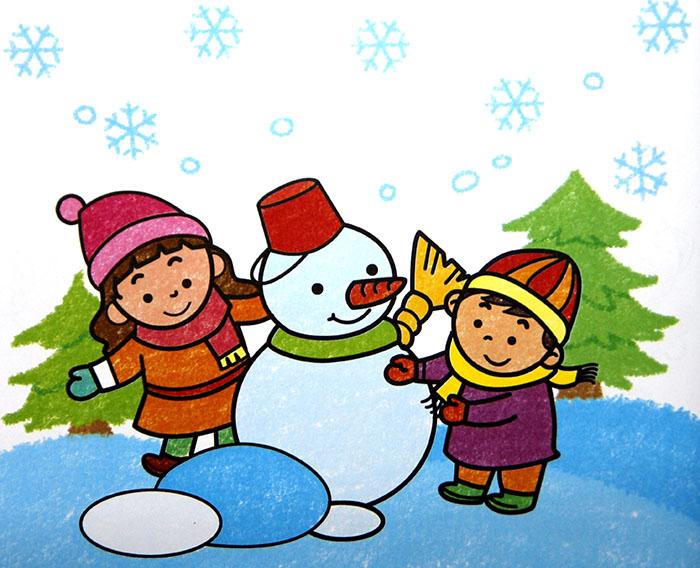 堆雪人 儿童彩笔画作品
