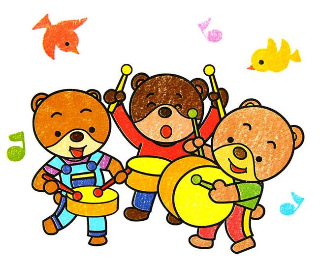 高兴的小熊 儿童蜡笔画作品