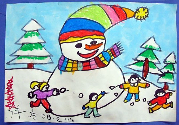 儿童彩笔画作品 两只毛毛虫