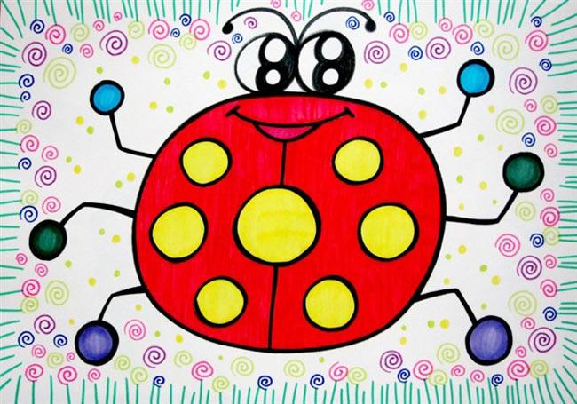 大瓢虫 儿童彩笔画作品