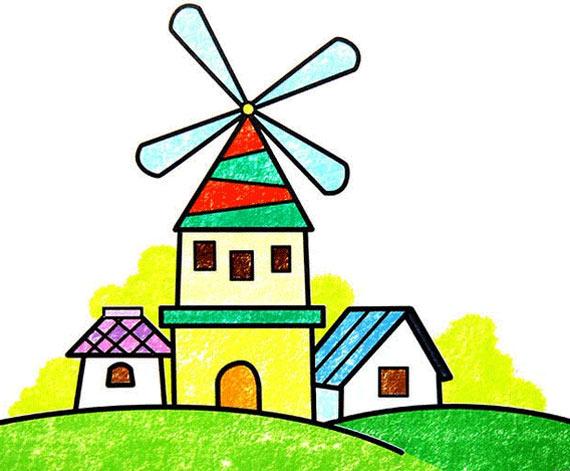 荷兰风车 儿童蜡笔画作品 高清图片