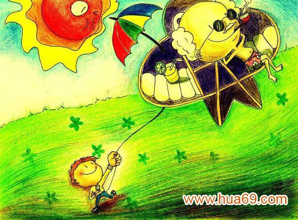 放飞梦想 儿童蜡笔画作品图片