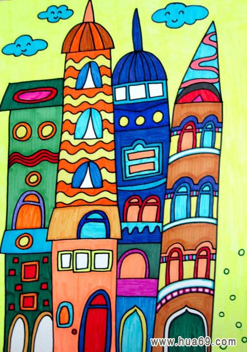 幼儿画高楼的简笔画内容图片展示_幼儿画高楼的简笔画图片下载