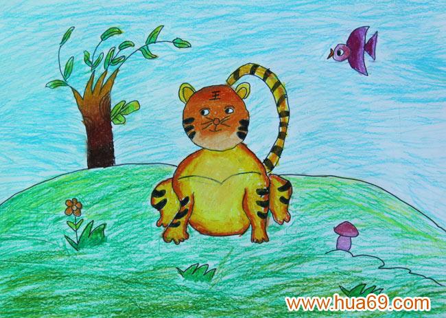 孤单的老虎 儿童蜡笔画作品