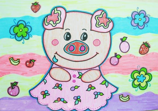 猪小姐_儿童彩笔画作品