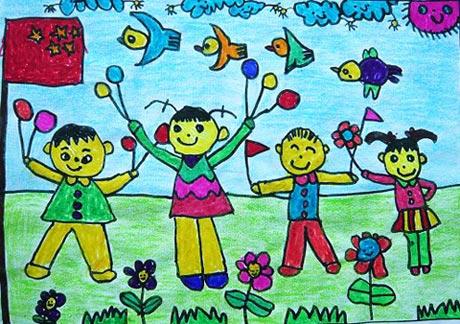 国庆快乐 儿童蜡笔画作品
