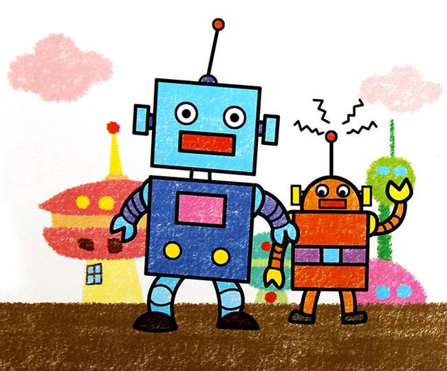 机器人 儿童蜡笔画作品