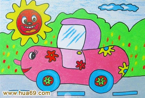 开汽车_儿童彩笔画作品