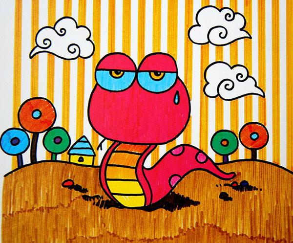 儿童彩笔画作品:毛毛虫的心思