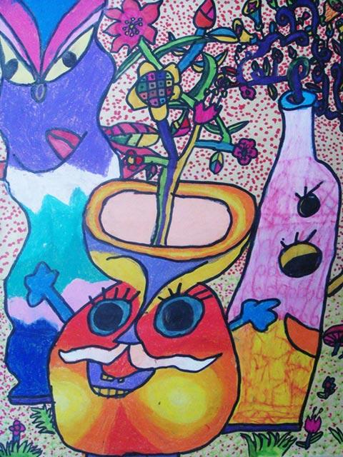 卡通瓶子_儿童彩笔画作品