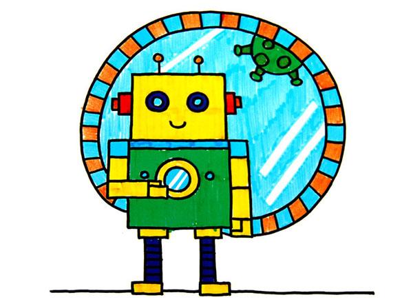 儿童画机器人_六一儿童网; 机器人 简笔画; 儿童彩笔画—机器人