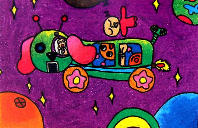 动物车 儿童蜡笔画作品