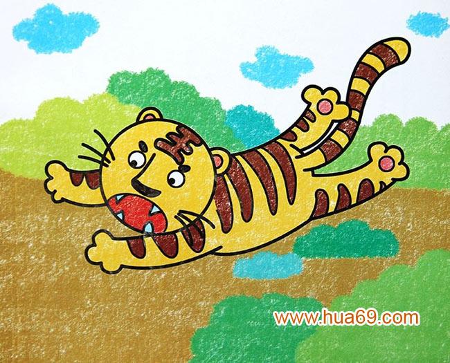 老虎捕食 儿童蜡笔画作品