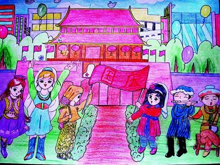 国庆节 儿童彩笔画作品