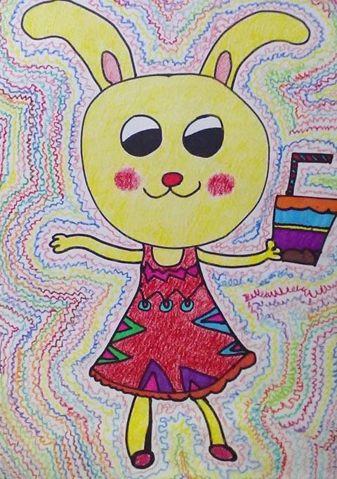 卡通兔 儿童彩笔画作品