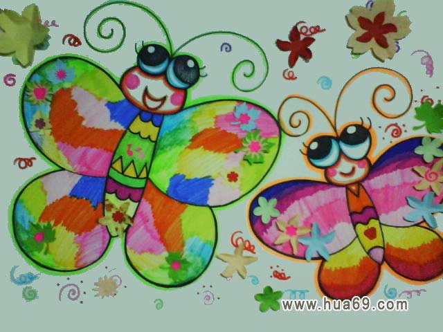 两只蝴蝶 儿童彩笔画作品