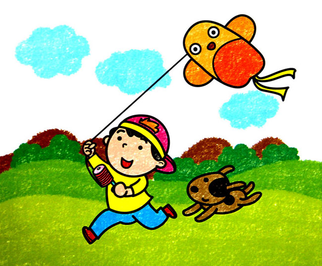 放风筝的小孩 儿童蜡笔画作品
