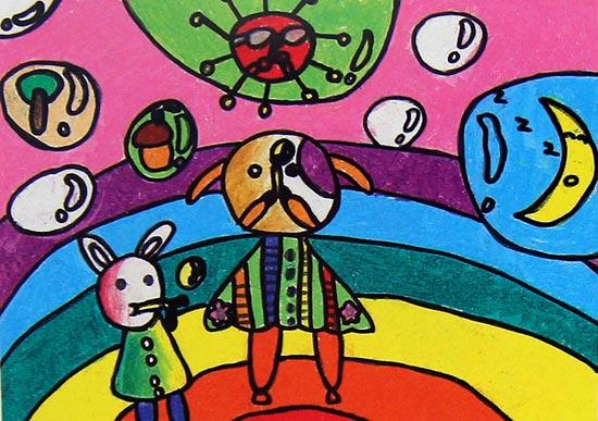 动物世界_儿童蜡笔画作品