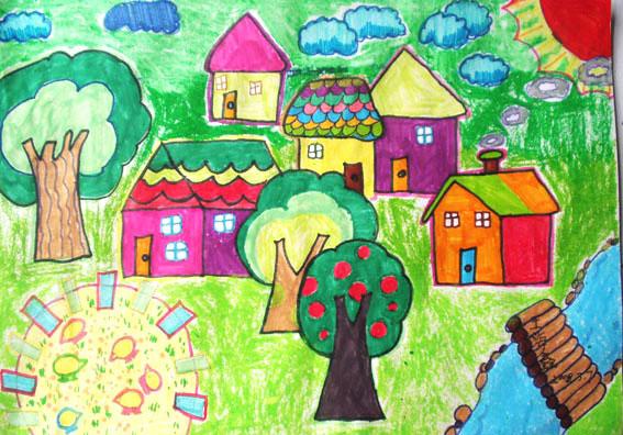 美好家园 儿童蜡笔画作品