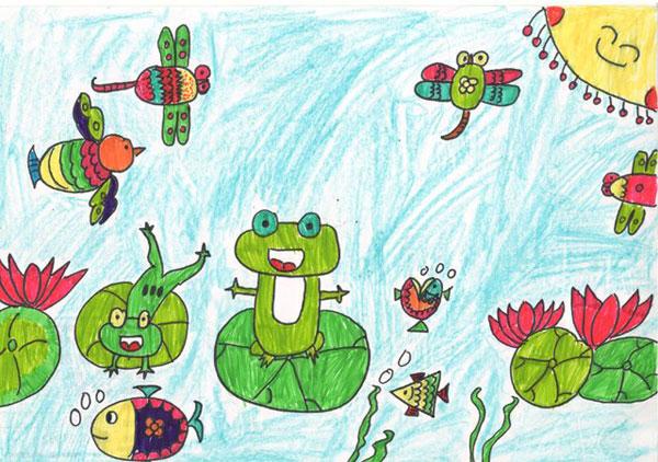 热闹的池塘 儿童蜡笔画作品