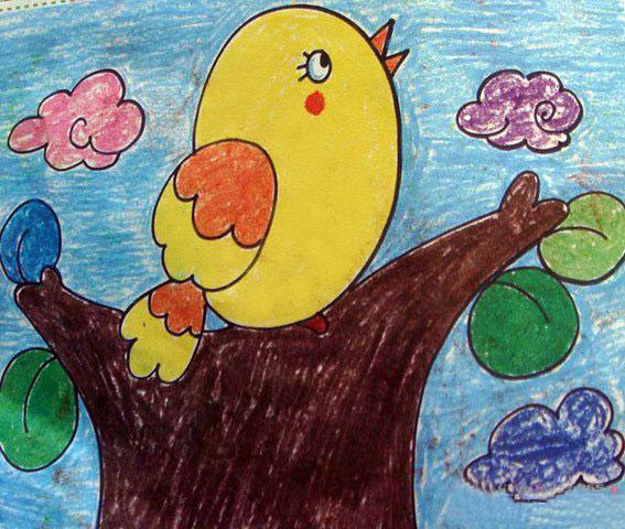 胖胖的小鸟 儿童蜡笔画作品