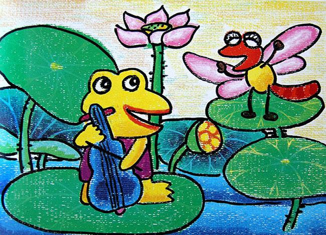 青蛙拉琴 儿童蜡笔画作品