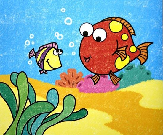两条小鱼 儿童彩笔画作品