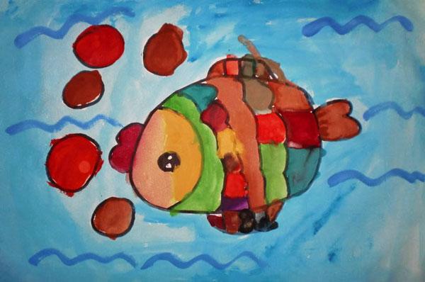 吐泡泡的小鱼 儿童水粉画作品