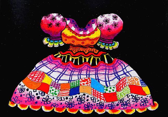 漂亮的裙子_儿童蜡笔画作品_儿童画