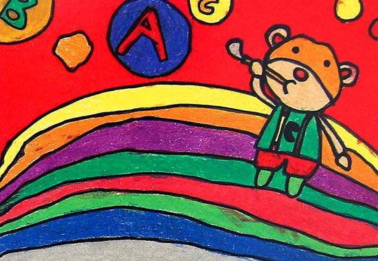 小熊宝宝的世界 儿童蜡笔画作品