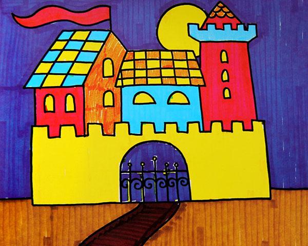亮的房子 儿童彩笔画作品
