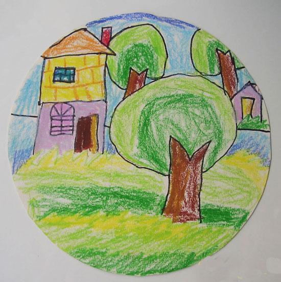 我的家 儿童彩笔画作品