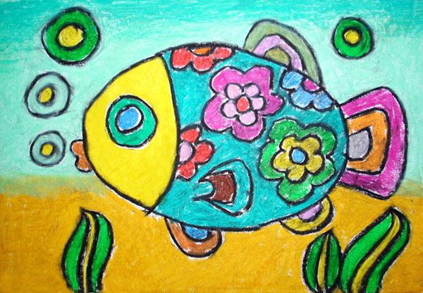 漂亮的小花鱼 儿童蜡笔画作品