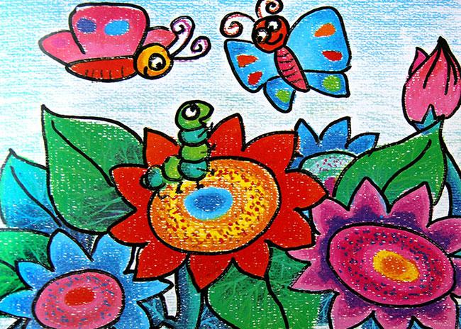小蝴蝶 儿童蜡笔画作品