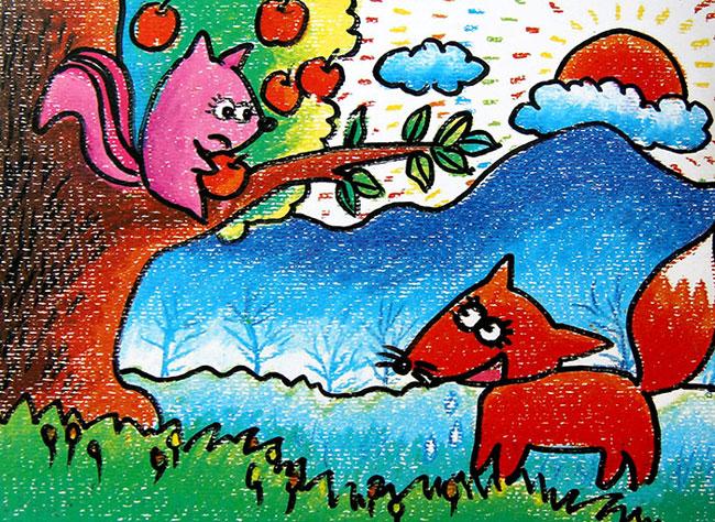 怎样画松树和松鼠