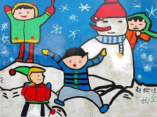 雪世界 儿童蜡笔画作品