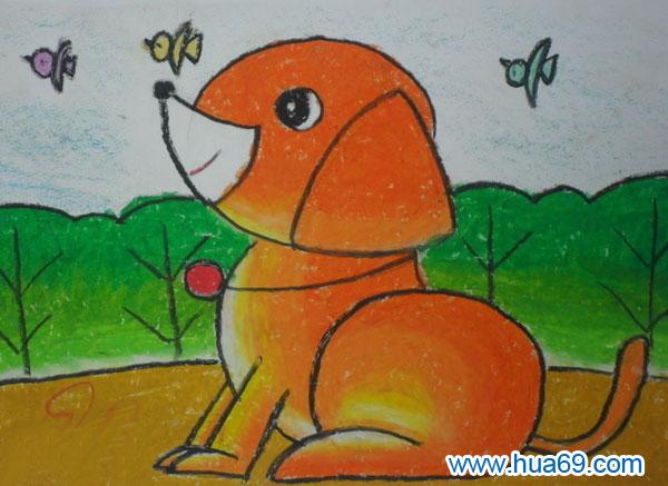 小狗值班 儿童彩笔画作品