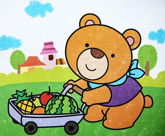 小熊运水果 儿童彩笔画作品