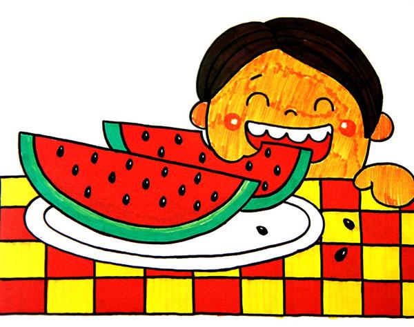 吃西瓜 儿童彩笔画作品